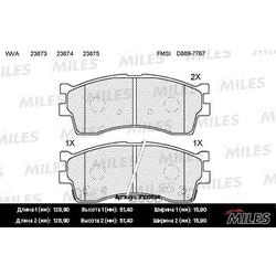 Колодки тормозные KIA CLARUS 96-/RIO/SHUMA 00-/SPECTRA (ИЖ) передние (Miles) E100024