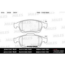 Колодки тормозные RENAULT DUSTER 10-/FLUENCE 10-/MEGANE III 08- передние (Miles) E100146