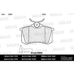 Колодки тормозные AUDI A4/A6/RENAULT SCENIC/VW GOLF 2/3/PASSAT задние (Miles) E110021