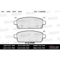 Колодки тормозные CHEVROLET CRUZE 09-/ORLANDO 11-/OPEL ASTRA J 10- задние (Miles) E110056