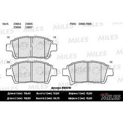 Колодки тормозные TOYOTA COROLLA/PRIUS/YARIS 1.0-1.6 99- передние (Miles) E100210