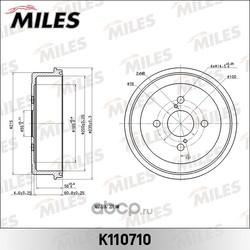Барабан тормозной TOYOTA COROLLA 92-02 (Miles) K110710