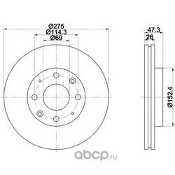 Тормозной диск (Mintex) MDC1768