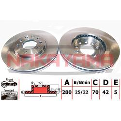 Торм.диск передн. вент. Opel Astra G 1.8-2.0TD ABS (NAKAYAMA) Q4515
