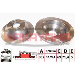 Торм. диск задний невент. Kia Sorento 09- (302x11x (NAKAYAMA) Q4696