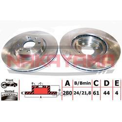 Тормозной диск RENAULT LAGUNA, MEGANE I, II перед. вент. (NAKAYAMA) Q4514
