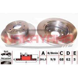 Торм.диск задний не вент. Nissan Qashqai 07- (292x (NAKAYAMA) Q4715