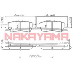 Колодки тормозные дисковые задние Nissan Navara, P (NAKAYAMA) HP8480NY