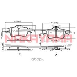 Колодки тормозные RENAULT LAGUNA 01 / NISSAN PRIMERA (P12) 02- задние (NAKAYAMA) P0390NY