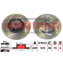 Торм.диск задн. (c подшипником и магнитным кольцом сенсора ABS) (NAKAYAMA) Q5108