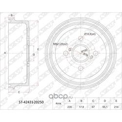 Барабан тормозной RR TY Corolla/Sprinter 2WD 95- AE10#/11#, EE111, AT212 (13) (Sat) ST4243120250