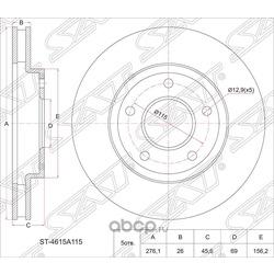 Диск тормозной FR MMC Outlander 4WD CW5W/6W 2.4 06-, Lancer X 4B10/11, 4A91 CY#, 07- (Sat) ST4615A115