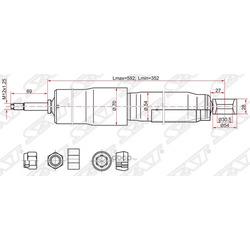 Амортизатор задний TOYOTA LAND CRUISER 80/105/MMC DELICA 94-06 (w/o ECS) LH=RH (Sat) ST4853169805