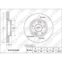 Диск тормозной FR HYUNDAI TUCSON 06-/I30 09-/KIA SPORTAGE 04- (Sat) ST517122C000
