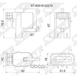 Катушка зажигания TY 3S/5S-FE (№2) 96-, ST19#/ST21#/SV4#/SV55/SXV2#/SXM1#/SXN1#/SXU1#, 1ZZ ZZV50 -00 (Sat) ST9091902218