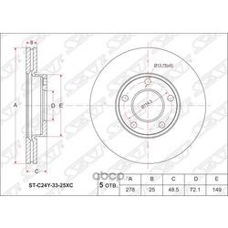 Диск тормозной FR MZ -3 1.4/1.6/2.0, Axela 1.5 (ZY)/2.0 (LF) BK#/BL# (Sat) STC24Y3325XC