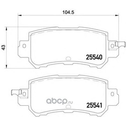 Комплект тормозных колодок, дисковый тормоз (Textar) 2554001