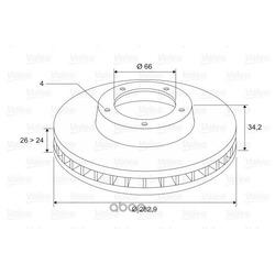 Диск тормозной передний вентилируемый (Valeo) 297693