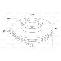Диск тормозной передний вентилируемый (Valeo) 297276