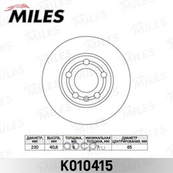 Диск тормозной AUDI A3 97 03/VOLKSWAGEN G4/G5/POLO 02 R15 задний (Miles) K010415