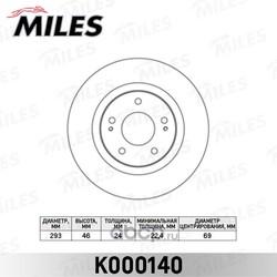 Диск тормозной MITSUBISHI OUTLANDER 03 /CITROEN C-CROSSER/PEUGEOT 4007 пер.вент. (Miles) K000140