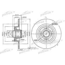 Диск тормозной задн c подшипником и кольцом ABS (1 шт) RENAULT: Scenic/Megane 1.4-2.0i/dCi 03 (PATRON) PBD7018