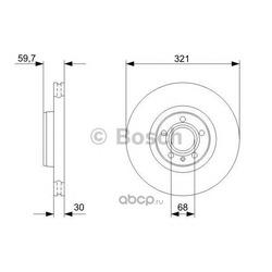 Диск тормозной передний / AUDI A6, A8 (321x30) 03 (Bosch) 0986479300