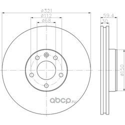 Диск тормозной передний / AUDI A6, A8 (321x30) 03 (Hella) 8DD355111141