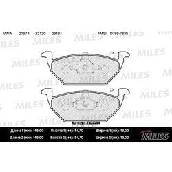 Колодки тормозные AUDI A3 97 /VW G4/SKODA OCTAVIA 97 09 1.4/1.6/1.8 передние (Miles) E100054
