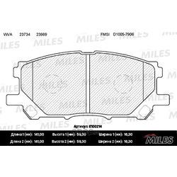 Колодки тормозные LEXUS RX300/RX330/RX350 03 08/RX400H 05 09 передние (Miles) E100214