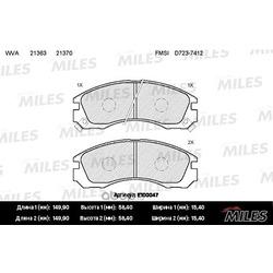 Колодки тормозные MITSUBISHI OUTLANDER 03 /PAJERO 90 00/00 передние (Miles) E100047