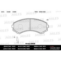 Колодки тормозные MITSUBISHI PAJERO III LONG WAGON 00 06 3.5/2.5TD передние (Miles) E100155