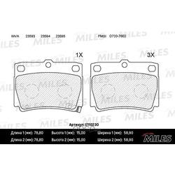 Колодки тормозные MITSUBISHI PAJERO SPORT/MONTERO SPORT 98 09 2.5D/3.0 задние (Miles) E110230