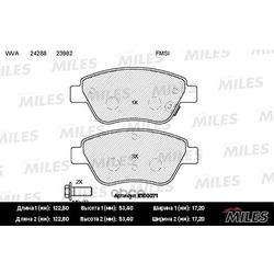 Колодки тормозные OPEL CORSA D 06 передние (Miles) E100071