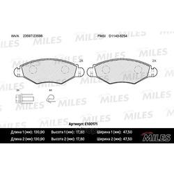 Колодки тормозные PEUGEOT 206/206SW 01 (-ABS) передние (Miles) E100171