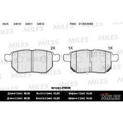 Колодки тормозные TOYOTA COROLLA 1.4 VVT-I 02 /AURIS 1.6/1.4 07 задние (Miles) E110136