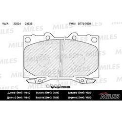 Колодки тормозные TOYOTA LAND CRUISER 4.2D 90 98/4.2D/4.7 98 передние (Miles) E100216