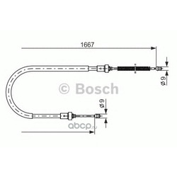 Трос руч тормоза 1667 мм (Bosch) 1987477956
