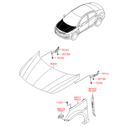 Панель крыло левое (Hyundai-KIA) 663114L000