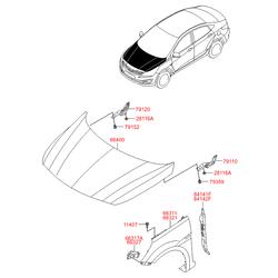 Панель крыло правое (Hyundai-KIA) 663214L000