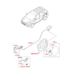 Рукоятка ручки открывания дверцы топливного бака (Hyundai-KIA) 8157522000