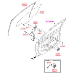 Электрический двигатель стеклоподъемника стекла двери, 60 вт (Hyundai-KIA) 824600U000