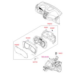 Щиток приборов в сборе (спидомерты и тахометры) (Hyundai-KIA) 940034L215
