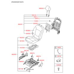 Чехол спинки переднего сиденья левый (Hyundai-KIA) 883604L010N2L