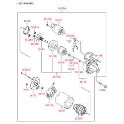 Вал приводной стартера с муфтой в сборе (Hyundai-KIA) 361402B602