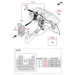 Комплект жгутов проводов передней консоли в сборе (Hyundai-KIA) 911404L152