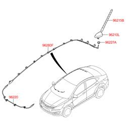 Корпус крепления штыревой антенны с электрическими разъемами (Hyundai-KIA) 962134L001