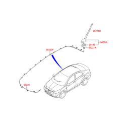 Корпус крепления штыревой антенны с электрическими разъемами (Hyundai-KIA) 962134L000