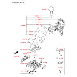 Накладка левая внутренняя спинки переднего сиденья (Hyundai-KIA) 880554L010RY