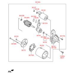 Реле втягивающее стартера (Hyundai-KIA) 361202B502